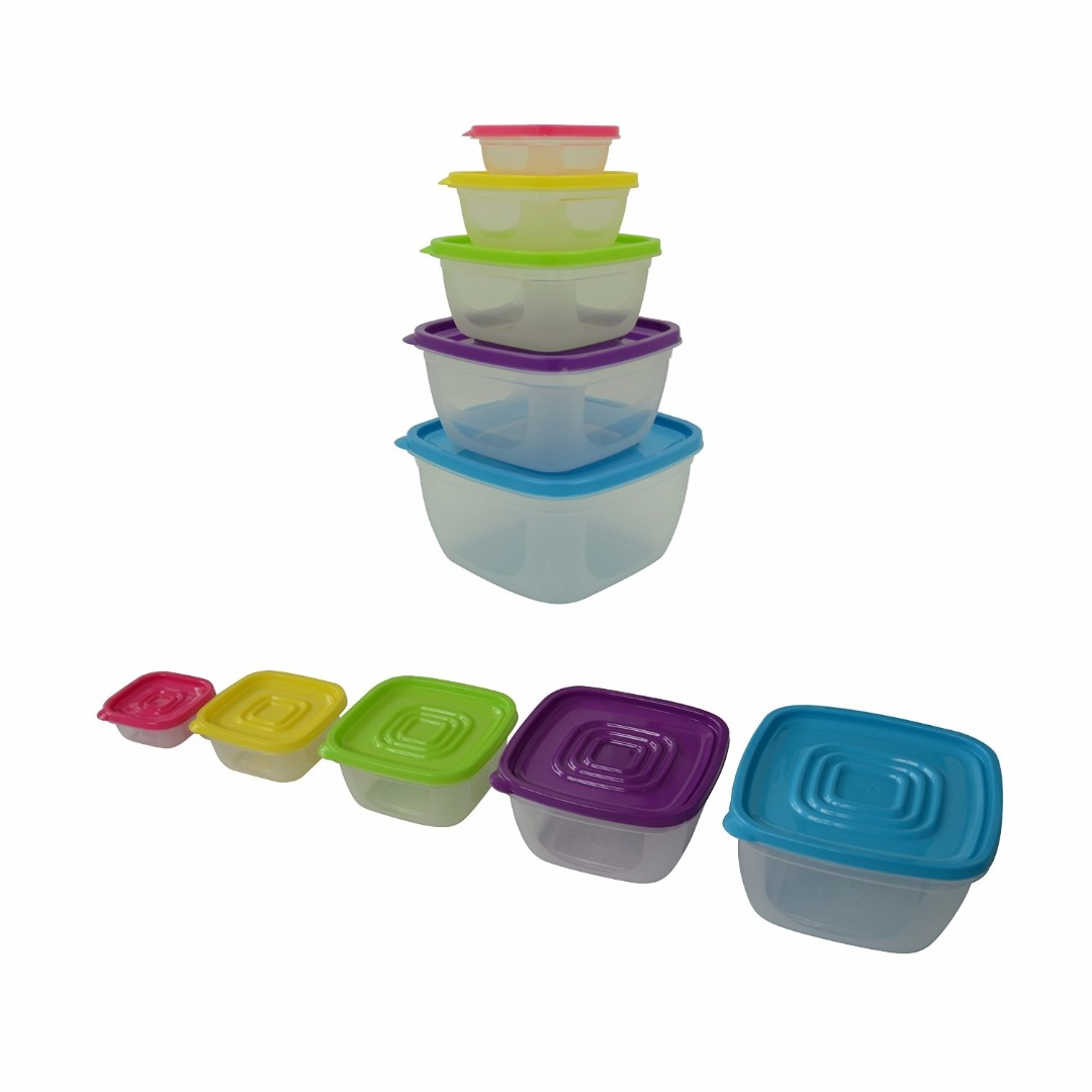Prefer Green 5-Size Multi-Color Food Storage Container Set with Lids